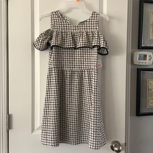 NWT girls white and black checked polyester dress